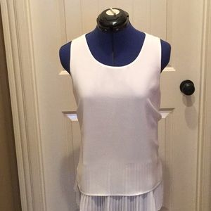 White tank with pleated under tank.